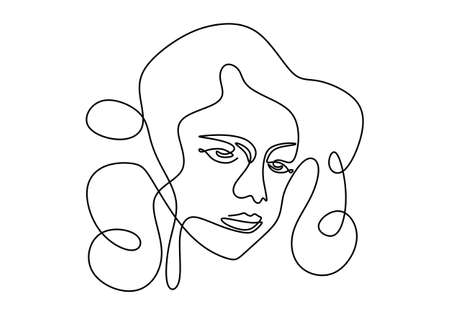 One line continuous smiling young woman model with curly hair. Female beauty figure logo isolated on white background. Love your self concept minimalist Style. Vector design illustration Ilustração