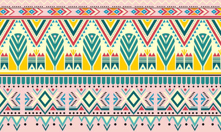 Striped vintage boho fashion style seamless pattern background with tribal shape elements. Handmade colored stripes bright tribal. Ideal for fabric design, paper print and web backdrop