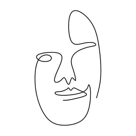 One continuous line drawing of abstract face of human. Modern continuous line art man and woman minimalist contour. Great for home decor, tote bag, t-shirt print, mobile case. Vector illustration