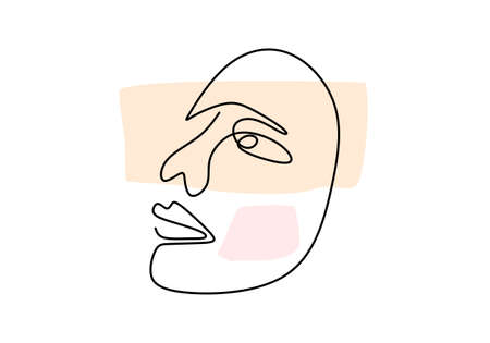 Abstract poster with minimal woman face with happy expression one line drawing. Nature symbol of cosmetics. Modern continuous line art minimalism style, aesthetic contour. Fashion print