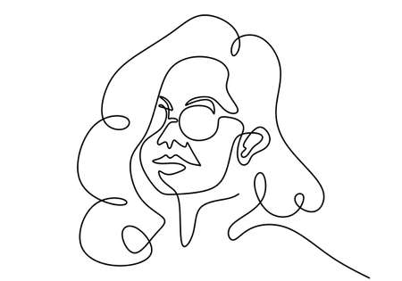 Continuous one line drawing of woman portrait classic style in sunglasses. A beautiful stylish girl wearing sunglasses isolated on abstract background. Hand drawn of pretty woman vector illustration Ilustração