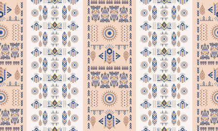 Ethnic and tribal motifs ornamental seamless pattern. Pastel colorful for print. Hand-painted good for Fabric, Wrapping Paper, Greeting and invitation card Design Template. Vector illustration Ilustração