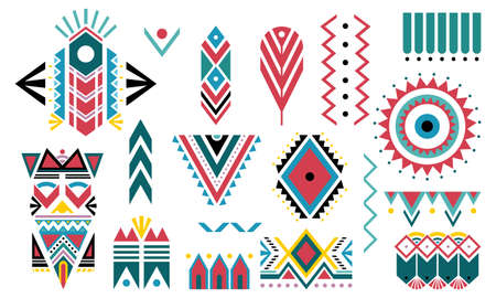 Boho colorful. Set of tribal decorative elements isolated on white background. Ethnic collection traditional design. Perfect for fabrics, wallpaper and covers. Vector illustration.