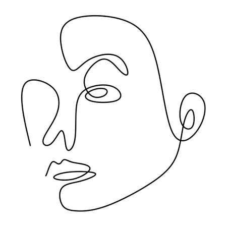 Abstract face one line drawing. Modern fashionable minimalist design concept isolated on white background. Hand drawn vector fashion illustration for t-shirt, slogan design print graphics style Ilustração