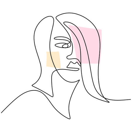 Abstract faces beautiful women. Modern fashion linear female face profile in minimal line style, aesthetic contour. Female portrait with long hair isolated on white background. Vector illustration