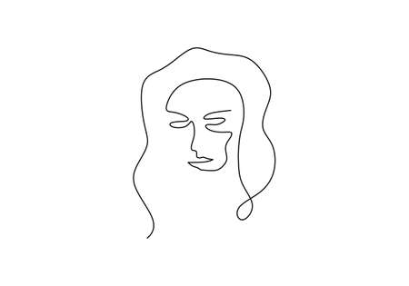 continuous line drawing face abstract. Minimalism vector isolated on white background. Ilustração