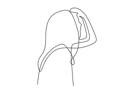 One continuous line of face abstract isolated on white background.