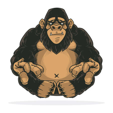 Awesome gorilla or ape hand drawn design. Isolated on white background for t-shirt, shirt, poster and wallpaper.