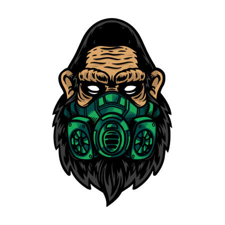 Serious of gorilla or ape head use green mask. Isolated on white background for t-shirt, shirt, poster and wallpaper.