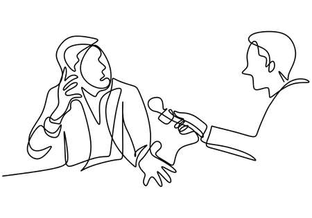 One continuous line drawing of a man holding a microphone in hand and asking a question to others man who is public figure. A male as an artist are interviewed by television broadcast journalist
