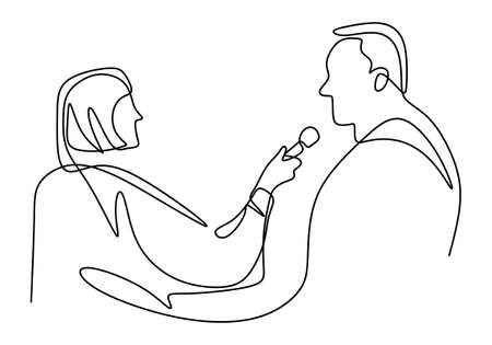 Continuous one single line drawing of reporter female journalist. A professional women journalist interviewing a businessman to explain his business strategy in pandemic COVID-19. Vector illustration 向量圖像