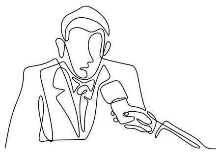 One continuous line drawing of a businessman are interviewed by television broadcast journalist with a hands holding a microphone in hand and asking a question to others man who is public figure