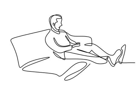 One continuous line drawing of young happy teenager man take a rest by lying down at sofa couch while relaxing his body. Enjoying time concept single line draw sign design vector illustration