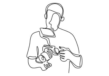 Continuous single drawn one line of senior cameraman. Professional a videographer is preparing and checking the camera before shooting isolated vector object by hand on white background