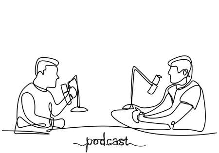One continuous line drawing of two people in podcast. Young man interviewed other man to give some opinion in podcast or broadcast. Speak into microphone with headphone minimalism design