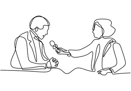 Continuous one single line drawing of reporter female journalist. A professional women journalist interviewing a businessman to explain his business strategy in pandemic COVID-19. Vector illustration Ilustracja