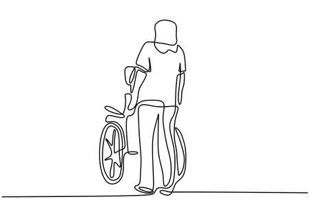 Continuous one line drawing of a young man pushing wheelchair with disabled old man. Helping elderly, disable people and sick people. Humanity concept minimalist style. Vector illustration 向量圖像