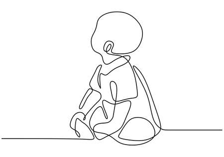 Continuous single drawn of cute baby is sitting on the floor. The baby is sitting while looking up one line sketch on white background. Character a little kid in the minimalist style