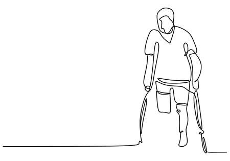 Young man with one leg one continuous line with minimalist design isolated in one white background. Standing male with one leg learning to walk with a stick. Minimalist design. Vector illustration