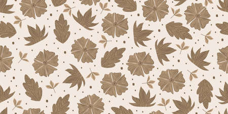 Seamless pattern of floral abstract drawing with brown colors. Brown floral seamless pattern isolated on white background.