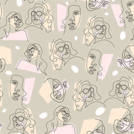 continuous line drawing of abstract face. Seamless pattern of face abstract isolated on pink and beige background. 向量圖像