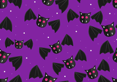 Halloween seamless pattern for kids. Hand drawn halloween pattern for children. Halloween pattern with cute bat isolated on purple background.