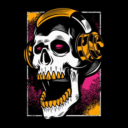 Hand drawn skull listening to music in headphones. Vintage dead head on dark color background. T- shirt design halloween theme. Print for clothes, posters, and other uses. Vector illustration 일러스트