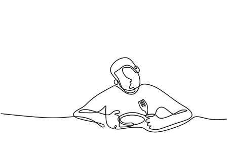Continuous single line drawing of a boy eating. Teenager man sitting and eating noodle on the table. Eat with appetite. Each gourmet with an open mouth holds a fork with food. Vector illustration