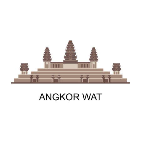 Panorama view cityscape of historical of Angkor Wat landmark in Cambodia. World famous monument. Good for vacation isolated on white background. Travel and tourist destination. Vector illustration Vektoros illusztráció