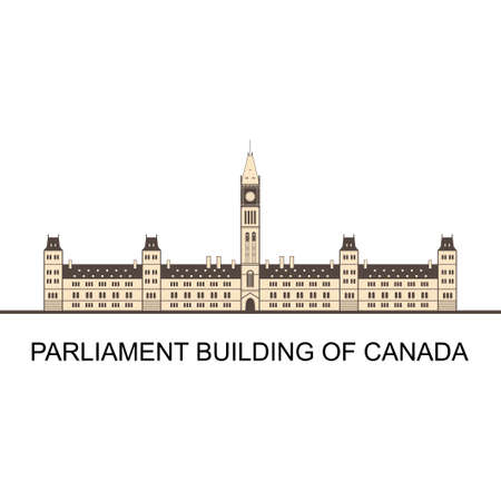 Parliament Hill Buildings in Ottawa, Canada. National historical architecture site of Canada. Tourism and vacation theme. World countries cities vacation sightseeing North America collection.