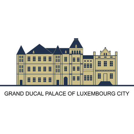 Facade of Grand Ducal Palace in Luxembourg City, Luxembourg. Majestical interior and splendid above stairs can be visited exclusively during summer. Tourism and vacation theme. World famous landmark