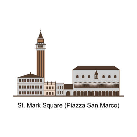 Piazza San Marco with the Basilica of Saint Mark and the bell tower of St Mark's Campanile (Campanile di San Marco) in Venice. Recommended vacation view. The famous landmark in Venice, Italy
