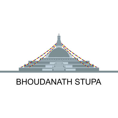 Stupa Boudhanath di Kathmandu, Nepal. One of the largest stupas in the world. travel vacation guide of goods, places and features. Famous religious landmark. Historical destination for vacation