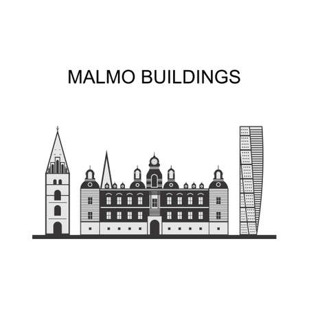 Beautiful panoramic view of the Malmo city in Sweden. Turning Torso is a neo-futurist residential skyscraper in Sweden and the tallest building in Scandinavia. Vector illustration