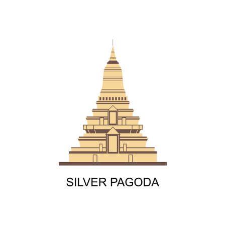Silver Pagoda, Phnom Penh skyline, Cambodia. The official name is Wat Ubaosoth Ratanaram or Wat Preah Keo. One of the famous Cambodian Landmaarks in the world. Historical destination for vacation