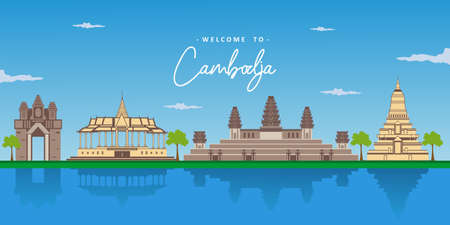 Beautiful landscape view of Cambodia with the world famous landmark. Angkor Wat, Siem Reap, Phnom Phenh, Silver Pagoda. Business area for traveling. Vector design colorful illustration Иллюстрация