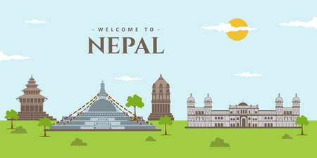 Asian cities skyline of Nepal. Landscape panoramic view in Nepal with famous landmark for tourists vacancy. Bhoudanath Stupa, Patan Durbar, Janakpur and Bhaktapur Durbar. Destination travel guide