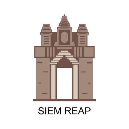 Wonderful cityscape of Siem Reap. A resort town in northwestern Cambodia. Beautiful design art of Buddha architecture. One of the world famous landmarks in Cambodia. Vector illustration Иллюстрация