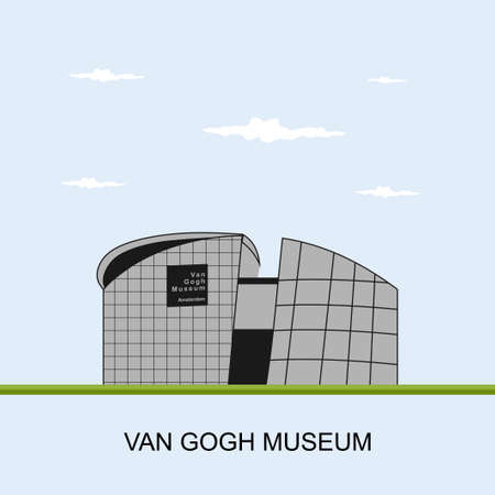 Van Gogh Museum in Amsterdam, Netherlands. Panoramic view building, an art museum dedicated to the works of Vincent van Gogh and his contemporaries in the Netherlands. Flat vector illustration.