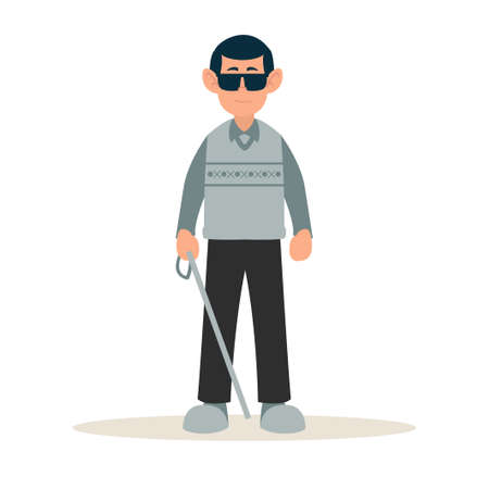 Disable people blind. A blind man was standing with a cane and dark glasses. World Disability Day. Healthcare vector illustration. Flat cartoon characters. Enjoying full life with disability