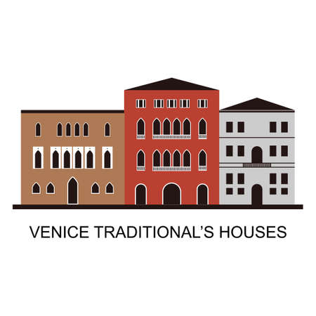 Traditional Venetian houses view. Frame with traditional Italian house style architecture building. Famous world landmark isolated on white background. Beautiful scenic top tourist attraction of city