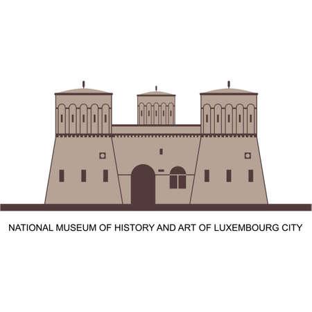 Restored building of the old fortress three acorns in Luxembourg. a tourist destination with historical famous landmark. Journey around the world concept. Flat vector design illustration 向量圖像