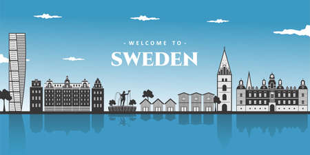 Panoramic view of Sweden. Wonderful aerial landscape of world famous landmark, Stockholm, Poseidon statue, Malmo and Sweden Traditional House. Enjoying destination for vacancy. Vector illustration