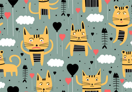 Vector seamless pattern with hand draw cats. Cute colorful kittens and fish on grey background. Creative nursery background. Perfect for kids design, fabric, wrapping, wallpaper, textile, apparel Vettoriali