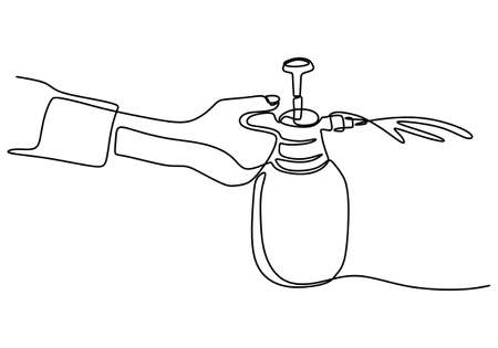 One line drawing of hand with disinfection bottle spray. Reduce the spread of CIVID-19. a persons hand using alcohol gel antibacterial soap sanitizer hand drawn vector illustration 矢量图像
