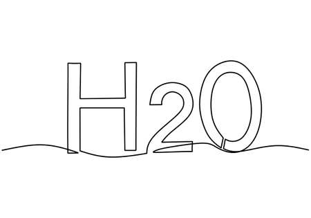 Continuous one single line drawing of H2O in chemistry. Chemical formula for water, ice or steam, two atoms of hydrogen and one oxygen atom, molecular sign isolated on white background.