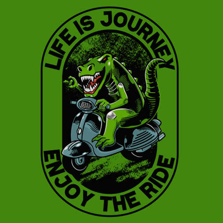 Tyrannosaurus Rex with scooter matic t-shirt and apparel trendy design. Good for t-shirt graphics, poster, print and other uses. The ancient animal is riding a classical motor
