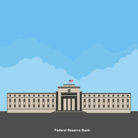 Facade of a bank building. The Old Federal Reserve Bank of San Francisco Building, now known as the Bently Reserve. San Francisco downtown, San Francisco, California. Flat style vector illustration Vektoros illusztráció