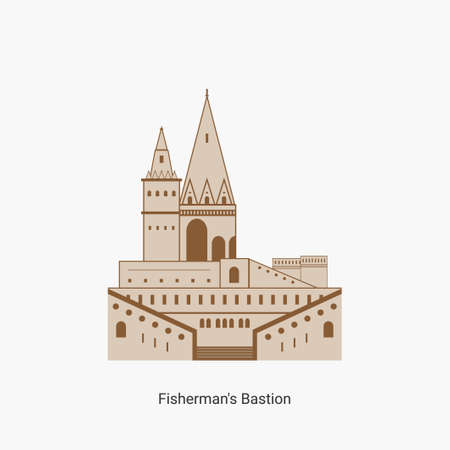 Fisherman's bastion towers in Hungary capital icon. Hungarian tourist destination you have to visit. Best historical landmark located in the Buda Castle. Vector art illustration flat design.