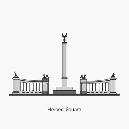 Heroes's Square in Hungary capital icon. Budapest famous architectural landmark isolated on white background. Historical Hungarian statues,kings, tourist destination. Vector illustration flat design